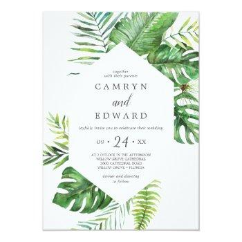 wild tropical palm all in one wedding invitation