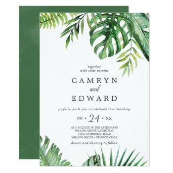 wild tropical palm casual wedding invitation