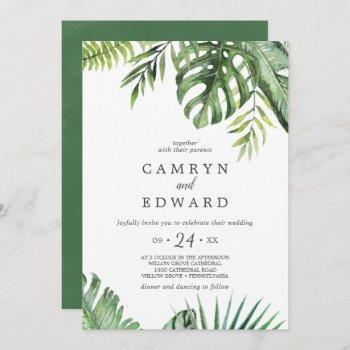 wild tropical palm casual wedding invitation
