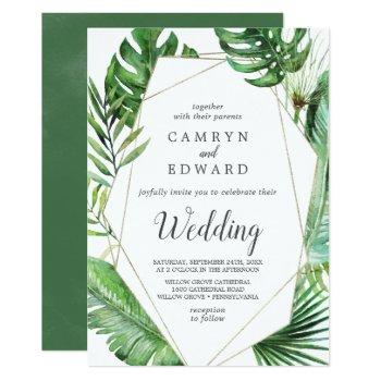 wild tropical palm geometric wedding invitation