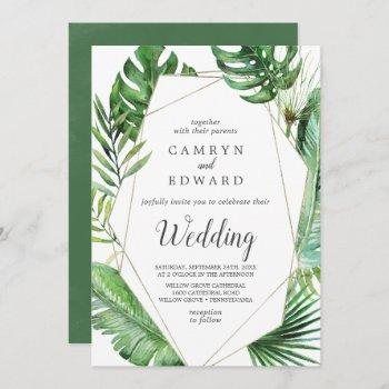 wild tropical palm geometric wedding invitation