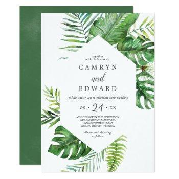 wild tropical palm hexagon casual wedding invitation