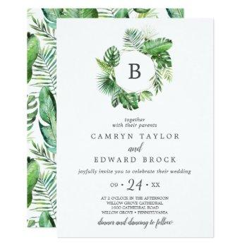 wild tropical palm monogram wedding invitation