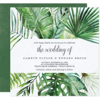 wild tropical palm the wedding of square wedding invitation