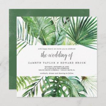 wild tropical palm the wedding of square wedding invitation
