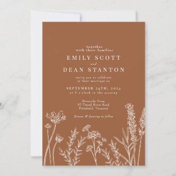 wildflower burnt orange wedding invitation