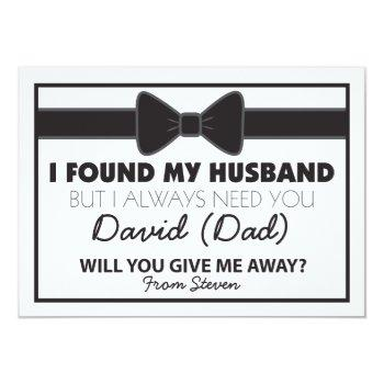 will you give me away black/white bow tie invitation