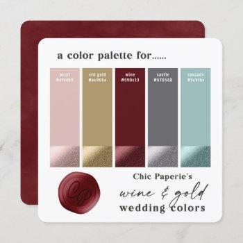 wine aqua & gold 2021 wedding color palette card