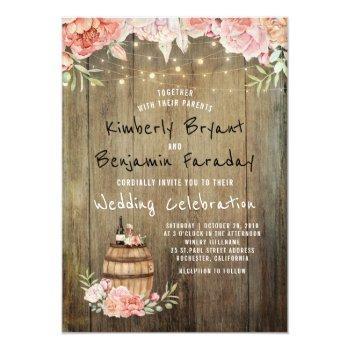wine barrel boho rustic barn string lights wedding invitation