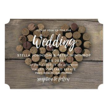 wine cork heart wedding invite