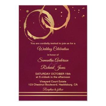 winery burgundy marsala gold wedding invitation
