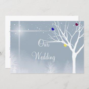 winter blue gay/lesbian  wedding invitation