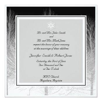 winter branches in black white wedding invitation