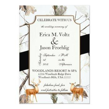 winter deer camouflage wedding invitation