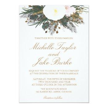 winter evergreen wedding invitation