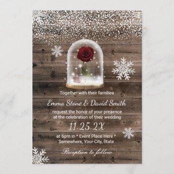 winter fairytale beauty rose dome wedding invitation