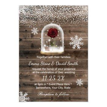 winter fairytale beauty rose dome wedding invitation