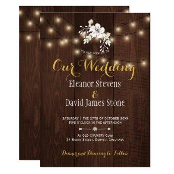 winter floral rustic wedding | brown white gold invitation