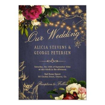 winter floral twinkle lights navy chalkboard invitation
