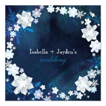 winter glitters floral wreath wedding invitation