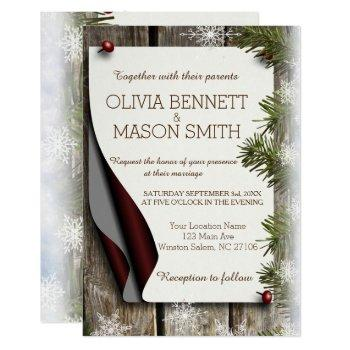 winter pine and snowflakes wedding card