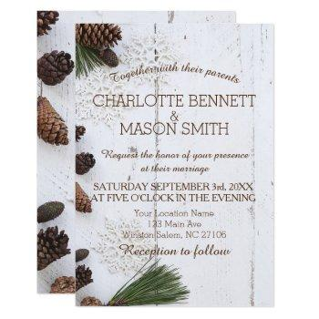 winter pinecone and snowflakes wedding card