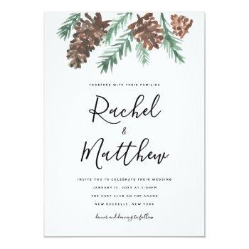 winter pinecone watercolor  wedding invitation