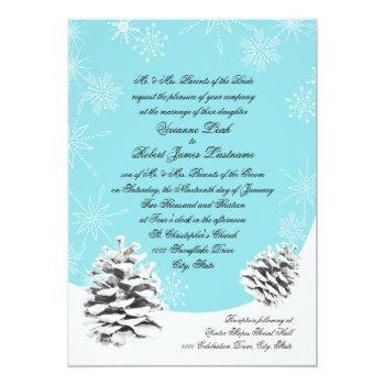 winter pinecones wedding invitation