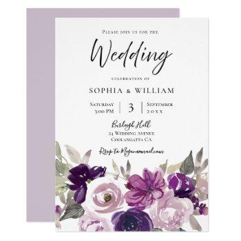winter purple lavender floral elegant wedding invitation