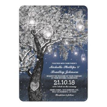 winter rustic blue string lights wedding invitation