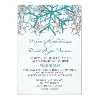 winter silver turquoise snowflakes wedding invitation