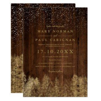 winter snow wood pine trees forest wedding invitation