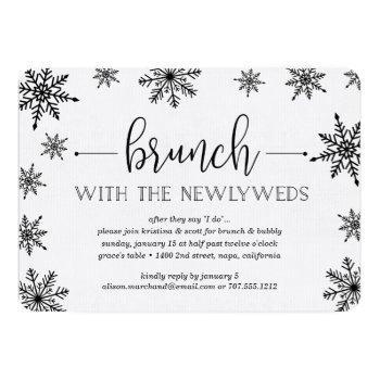 winter snowfall post wedding brunch invitation