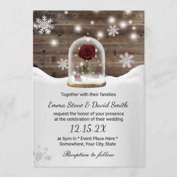 winter snowflakes beauty rose dome wedding invitation