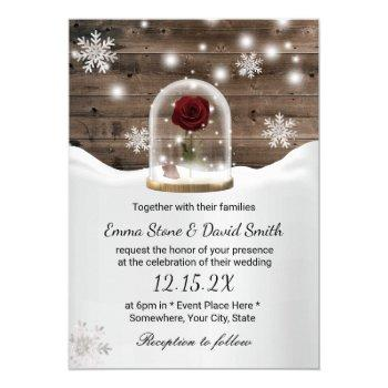 winter snowflakes beauty rose dome wedding invitation