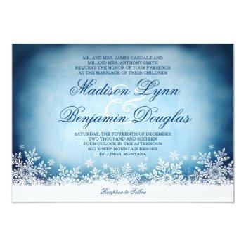 winter snowflakes blue holiday wedding invitations