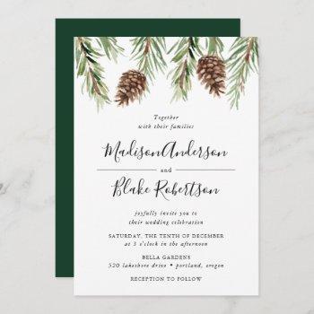 winter watercolor pine cone wedding invitation