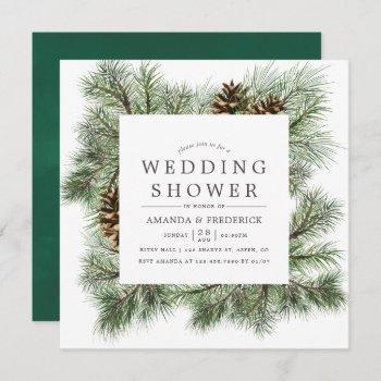 winter watercolor pines wedding shower invitation