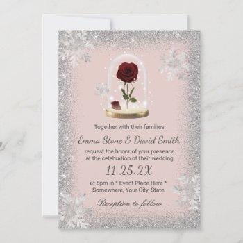 winter wedding beauty rose dome blush pink invitation