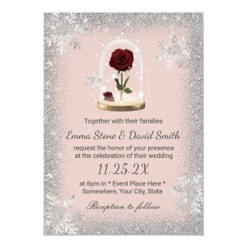 winter wedding beauty rose dome blush pink invitation