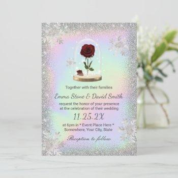 winter wedding beauty rose dome holographic invitation