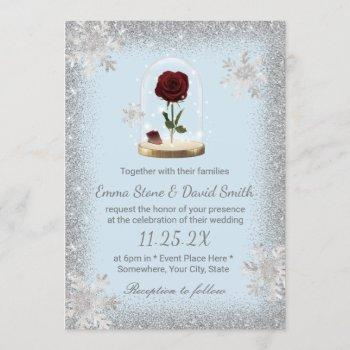 winter wedding beauty rose dome snowflakes invitation