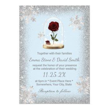 winter wedding beauty rose dome snowflakes invitation