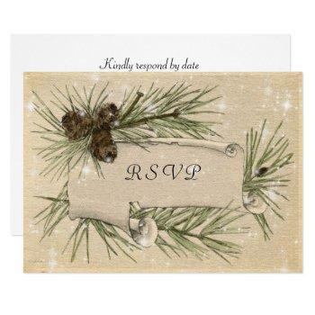 winter wedding, pine cones, wedding invitation