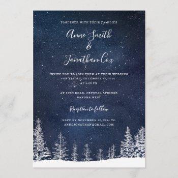 winter wedding snow stars navy blue white wedding invitation