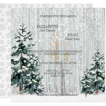 winter wedding sparkle snowflakes pine trees invitation