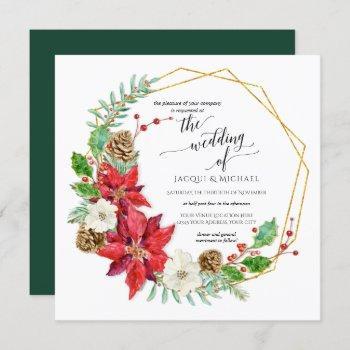 winter wedding watercolor floral wreath | square invitation