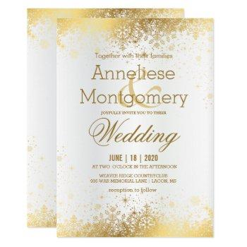 winter white and gold snowflakes wedding invitation