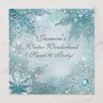winter wonderland magical snowflakes invitation