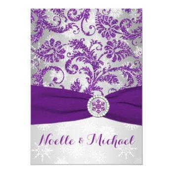 winter wonderland, printed crystal buckle - purple invitation